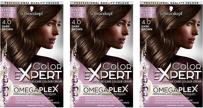 Schwarzkopf Color Expert Omegaplex tinte para cabello, 4.0 marrón oscuro, paquete de 3