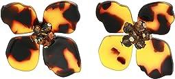 Flower Tortoise Stud Earrings
