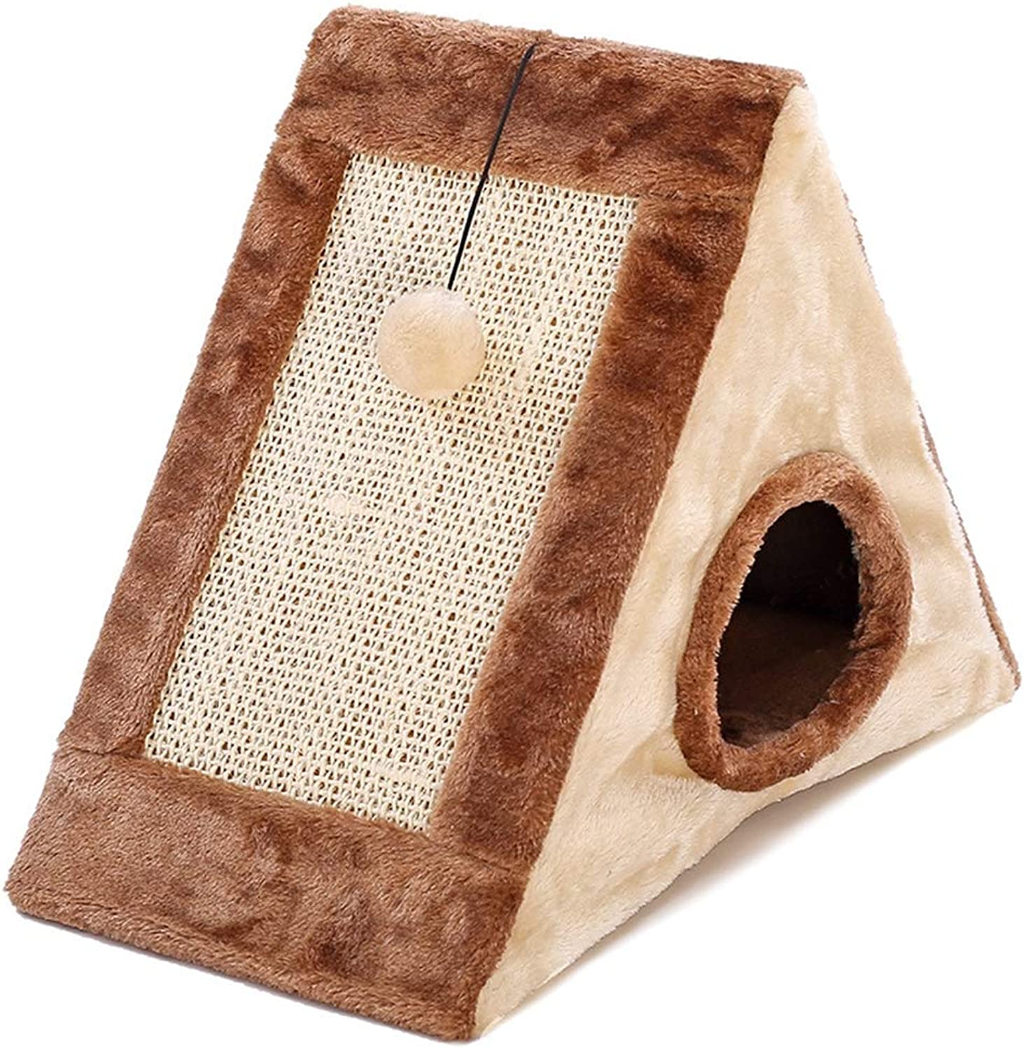 Cat Scratch Board Cat Nest Bed Hole Kitten Climbing Frame Triangle Grinding Claw Toys Training Pet Supplies Cat Toy,Brown,S