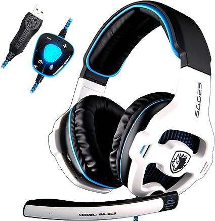 Auriculares SADES A7con sonido envolvente 7.1, conexión USB, para juegos, con micrófono, cancelación del ruido inteligente, luz LED, para portátil, PC, Mac, color negro y naranja