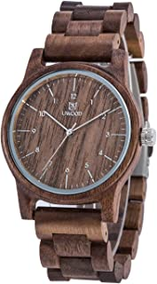 Men's Wooden Watch,BIOSTON Handmade Unique Vintage Military Quartz Wristwatches