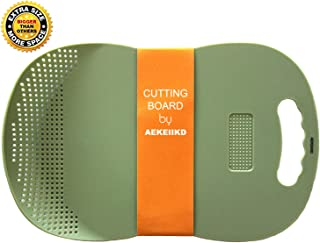 AEKEIIKD Cutting Board with Colander and Garlic Press Function, Multipurpose Plastic Choopping Board Easy Grip Handle, Cleaner than Bamboo, Dishwasher Safe, BPA Free, for Kitchen