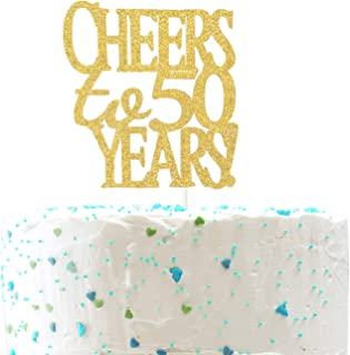 Cheers to 50 Years Cake Topper -Gold Glitter Hello 50 - Happy 50 Birthday Cake Topper 50th Birthday/Wedding Anniversary Party Decoration
