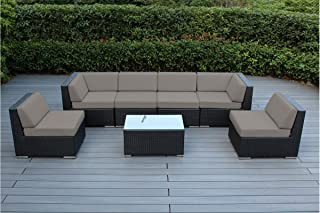 Ohana 7-Piece Outdoor Patio Furniture Sectional Conversation Set, Black Wicker with Sunbrella Taupe Cushions - No Assembly with Free Patio Cover