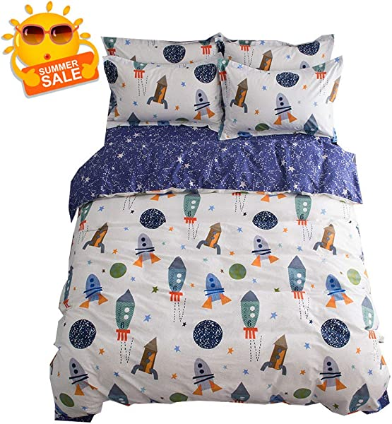 BuLuTu Space Rocket Print Boys Bedding Duvet Cover Queen White Blue Cotton 3 Pieces 1 Duvet Cover And 2 Pillow Shams Planet Spaceship Stars Full Girls Bedding Sets Zipper Closure No Comforter