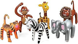 Fun Express Inflatable Zoo Animals 6 Assorted - Jungle, Safari Party Supplies - Elephants Lions Tigesr Zebra Monkies Giraffes
