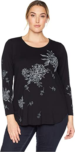 Plus Size Print Long Sleeve Top