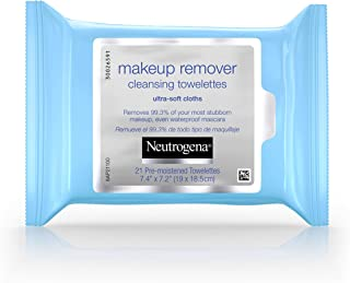 Neutrogena Makeup Remover Cleansing Facial Towelettes, Daily Gentle Face Wipes to Remove Oil, Dirt, & 99.3% of Makeup, Safe for Sensitive Eyes, Alcohol Free Wipes in Resealable Pack, 21 ct (Pack of 3)