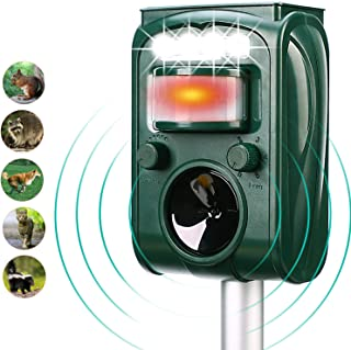 Solar Ultrasonic Animal Repeller, with Motion Activated and Flashing LED Lights Outdoor Waterproof Repeller for Dogs,Cats,Raccoon,Mice,Birds,Skunks,Etc.