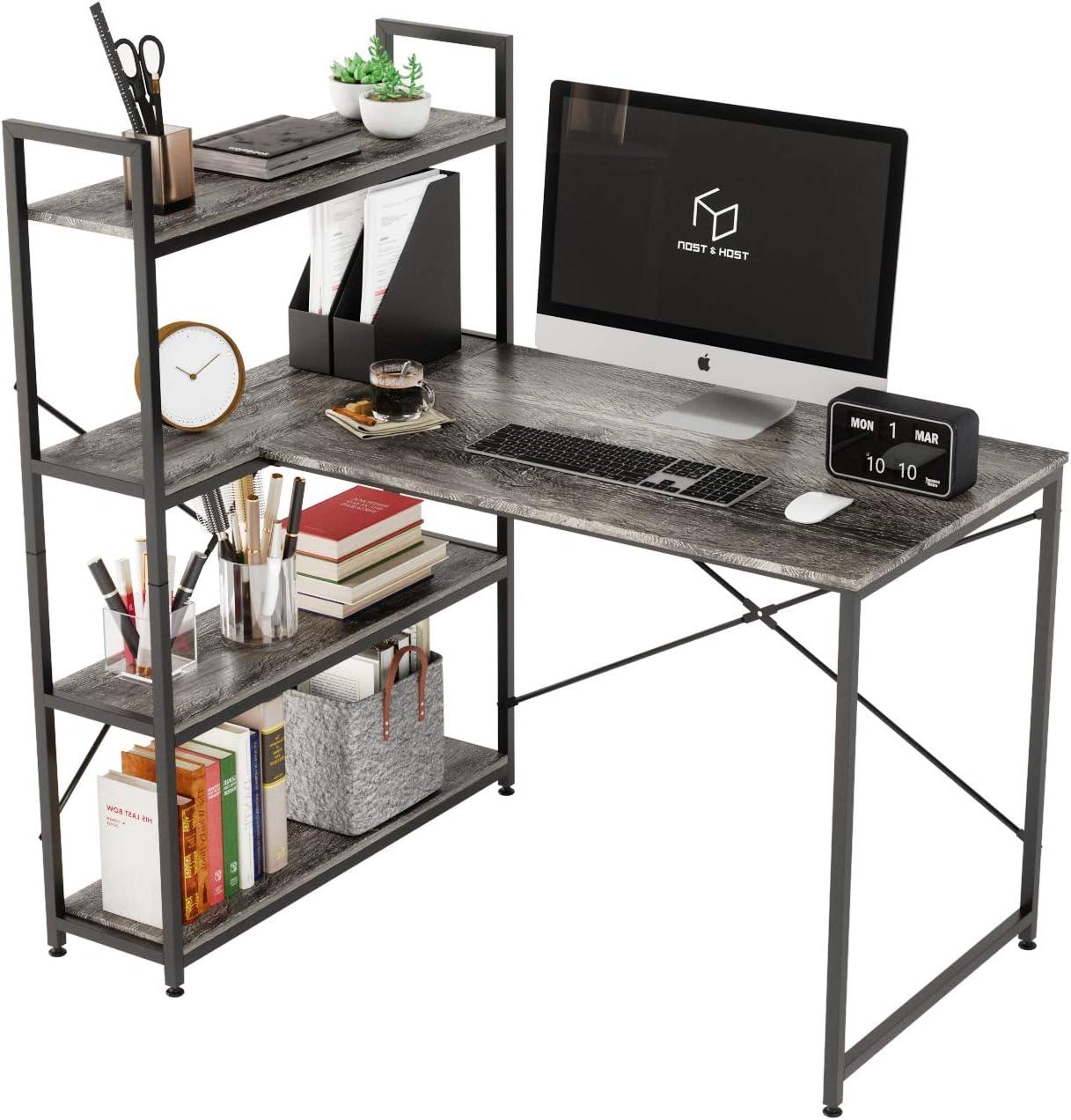 L-Shaped Desk with Rare Shelves Fees free!! Nost Small Corner Host Com