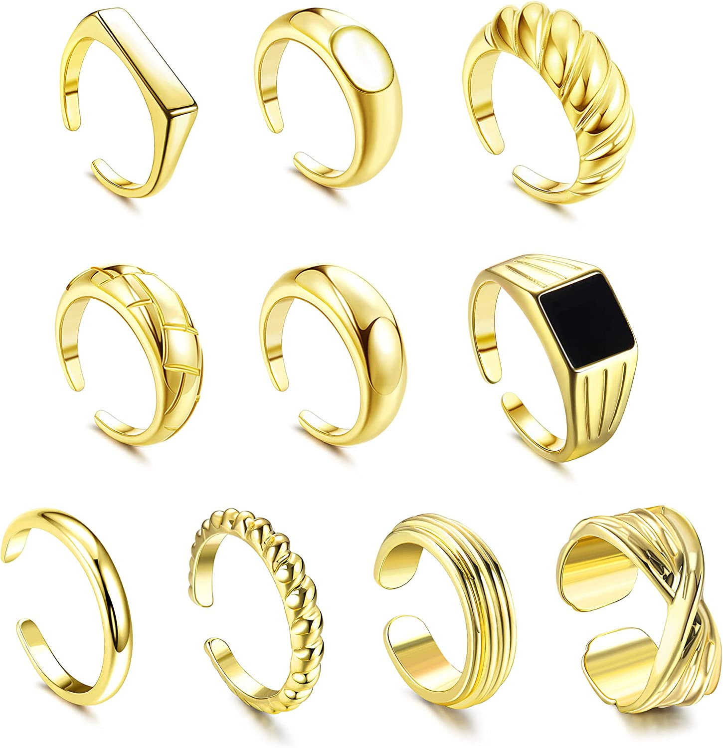 CASSIECA 10Pcs Gold Mail order cheap Dome Chunky Adjustable for Open Rings Limited Special Price Women