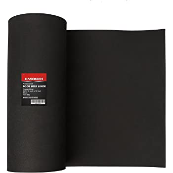 "CASOMAN Professional Tool Box Liner and Drawer Liner - 16 inch(wide) x 16 feet (long), Non-Slip, Black, 3mm Thickness (1/8"" thickness)"