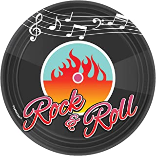 """Nifty 50's Theme Party """"Rock and Roll"""" Round Dessert Plates Tableware, Paper, 7"""", Pack of 8"""