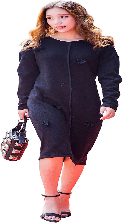 CG Women's Casual Long Sleeves Dress Wool Crewneck Sweater Dress(SXXXL)