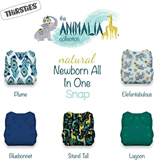 Thirsties Animalia Cloth Diaper Collection Package, Snap Natural Newborn All in One Cloth Diaper, Animalia