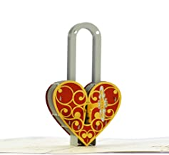 CutePopup Key to my Heart Popup card 3D Intricate Design Handmade Gift Idea for Lover Husband or Wife Wedding Party, Birthday or Anniversary with Message Note and Shining Envelope