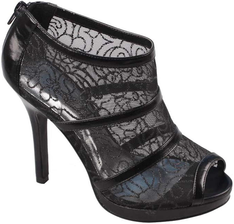 De Blossom Collection Yeal-2 Women's Lace Bridal High Heel Platform Peep Toe Dress Pump Black