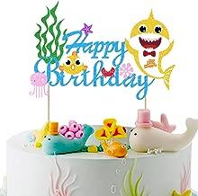 Vodolo Shark Cake Topper - Happy Birthday Cake Picks Little Shark Themed Cake Decorations for Baby Shower Birthday Party Supplies