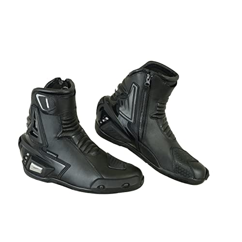 PROFIRST Nextek Genuine Leather Motorbike Armoured Boots Motorcycle Short Ankle Protection Boot Shoes Anti Slip Racing Sports Reflector UK 10 Full Black EU 44