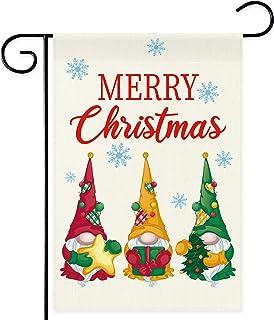 DSWEESUN Buffalo Plaid Gnome Christmas Garden Flag, Double Sided Premium Durable Winter Holiday Flag, Rustic Farmhouse Chr...