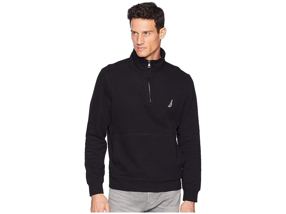 Nautica Fleece Basic 1/4 Zip Knit Active (True Black) Men