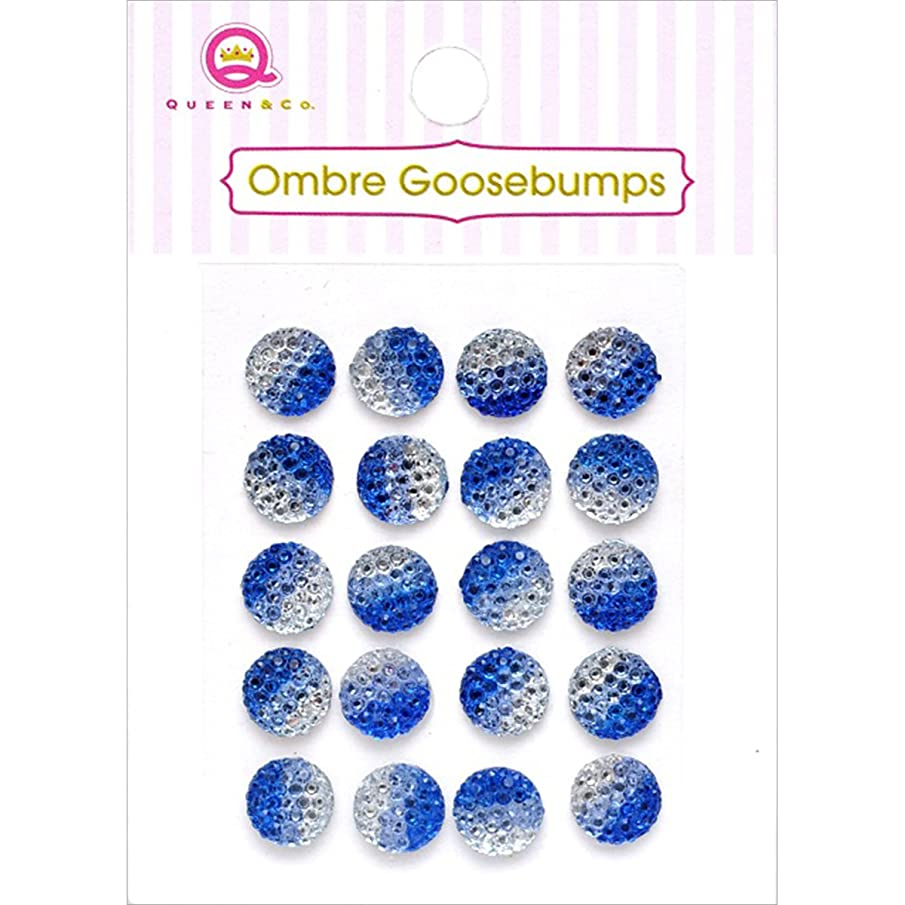 Queen & Co TW18-46 Ombre Goosebumps Self-Adhesive Embellishments (20 Pack), Blue