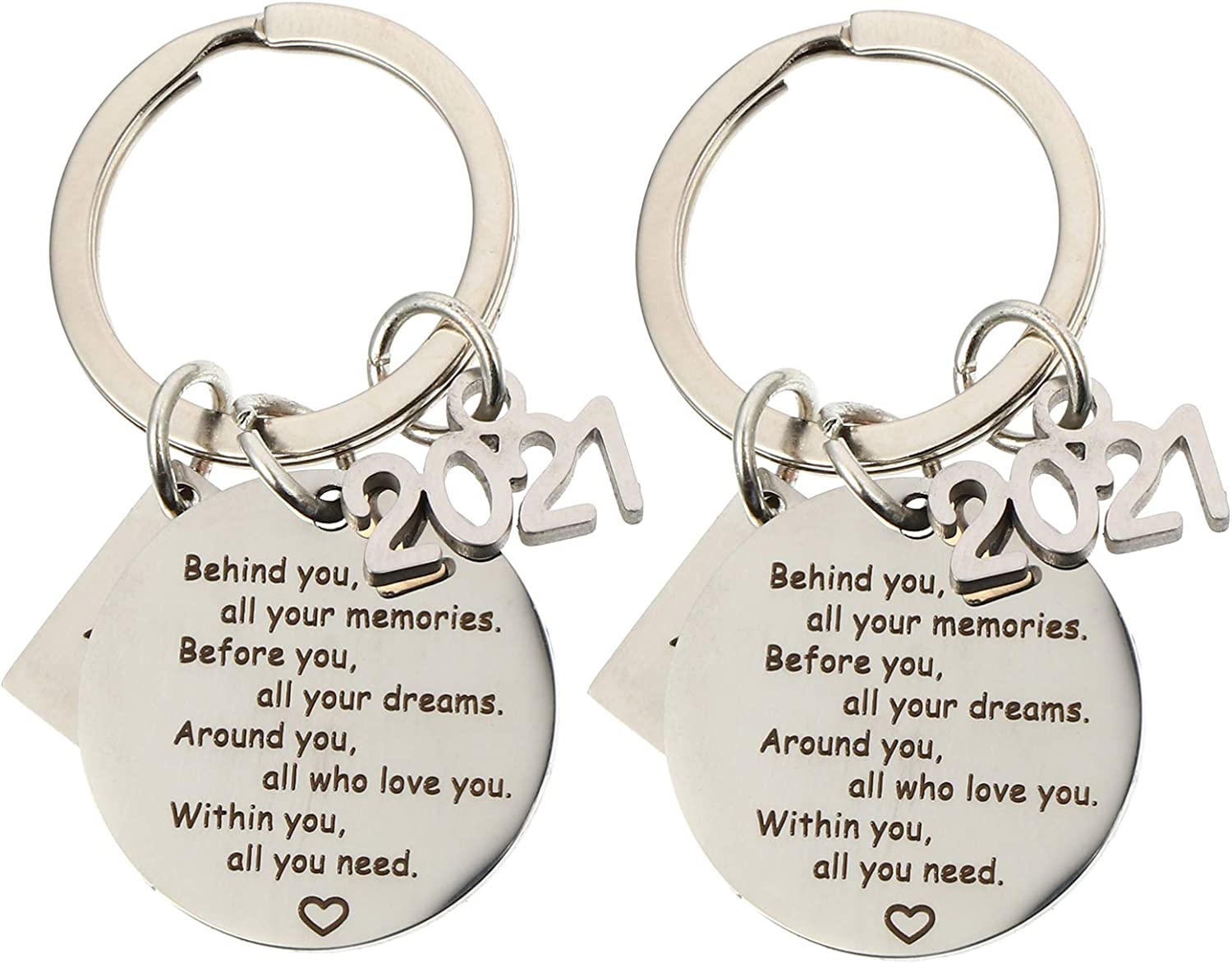 VALICLUD 2pcs 2021 Graduation Keychain Stainless Steel Grad Keychain Gift Keyring Behind You of All You College Graduate Prensent Friendship Keychain