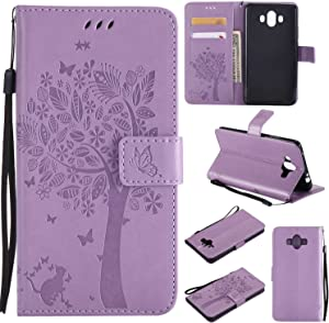 Huawei Mate Case THRION Cat and Tree Leather Flip Wallet Cover with Card Slot Holder and Magnetic Closure for Huawei Mate 10  Purple 2