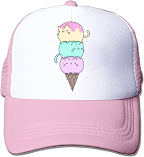 7e7eb0480ed ZMvise Unisex Kawaii Cat Ice Cream Stuff Things Cute Baseball Cap Trucker  Mesh Hat