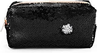 Flip Sequin Pouch Shiny Glittering Reversible Double Color w/Zipper for Kids, Teens, Men, Women-Toiletry Bag Holds School & Office Supplies, Makeup Fits in Backpacks- Quality Sequins Case (Black)