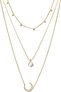 Layered Necklace Gold Plated Station Chain Rhinestone Pendant Christmas Valentine's Day Gifts Gold Moon Dainty Choker Sweater Necklace for Women