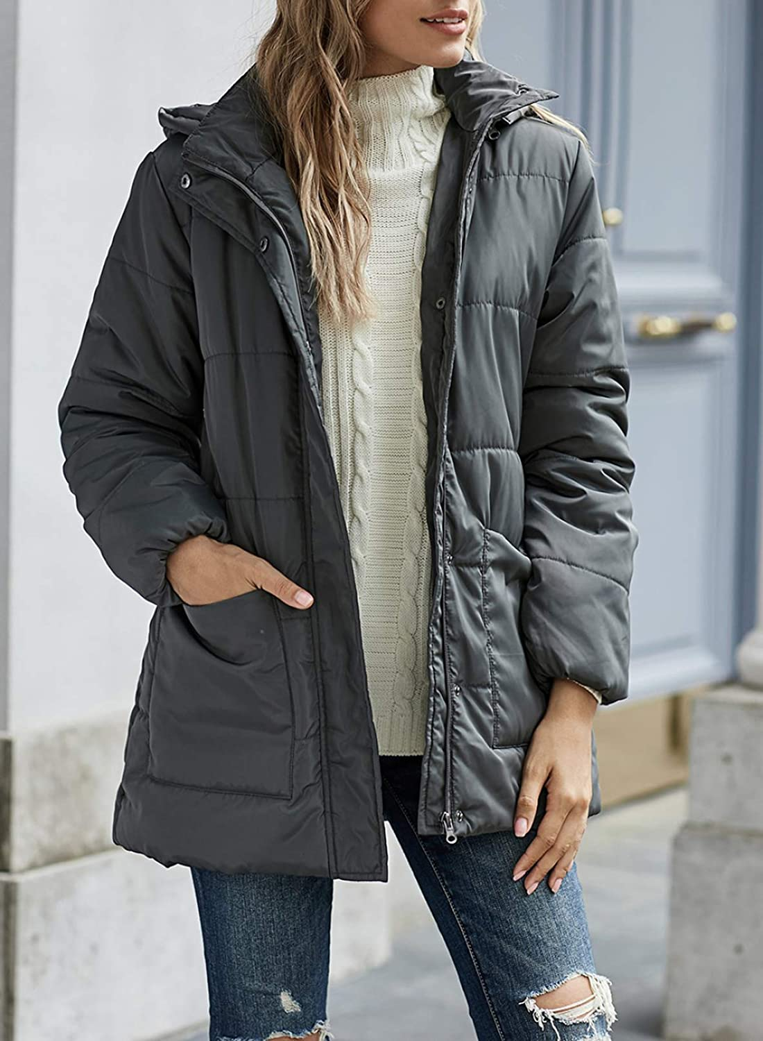 Asyoly Womens Winter Warm Zip Up Quilted Jacket Outerwear Coat with Pockets