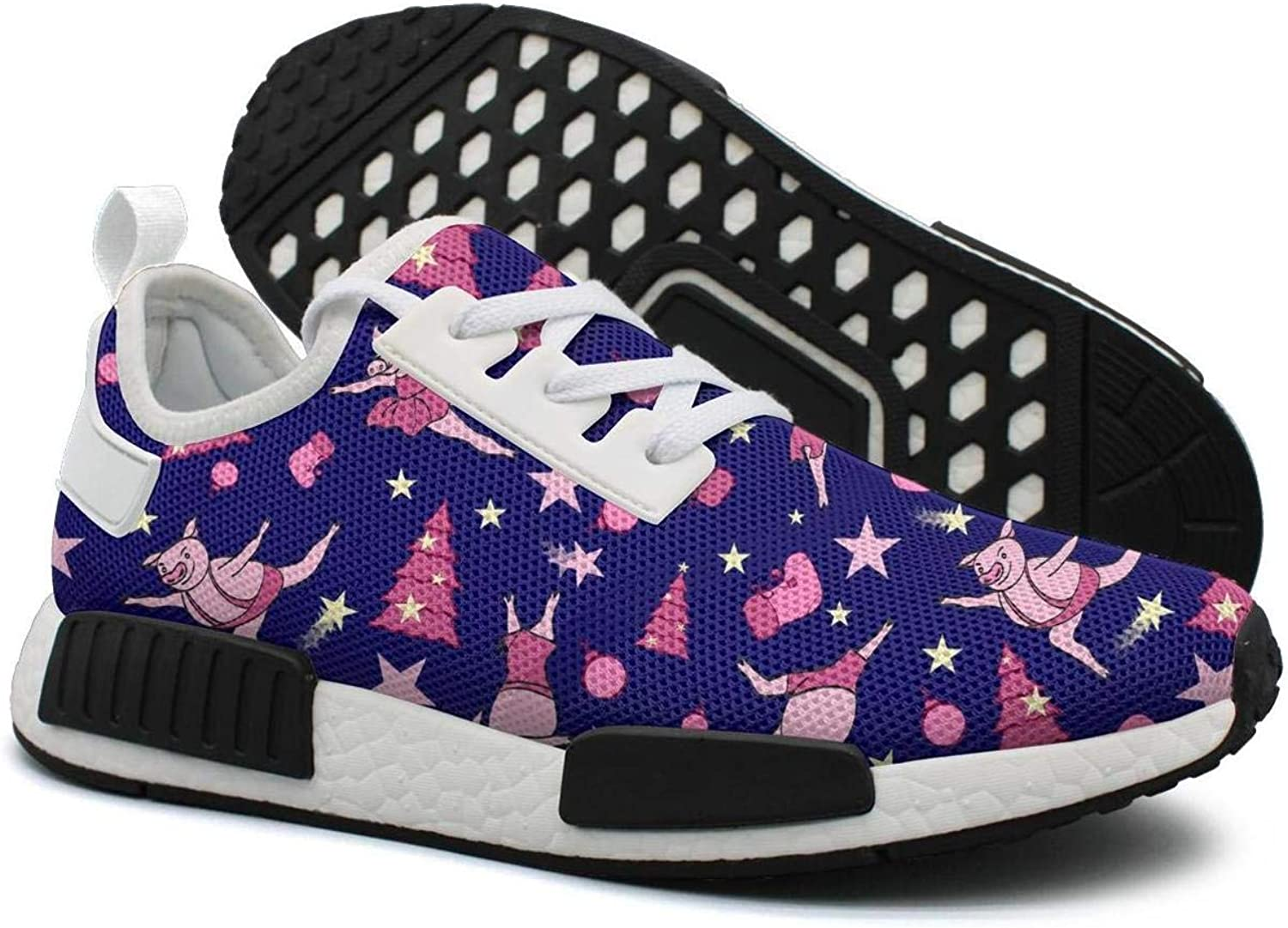 Pduiqo Dancing Pig Next to The Pink Christmas Tree Women's Unique Lightweight Sneakers shoes Gym Outdoor Walking shoes