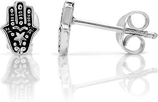 925 Oxidized Sterling Silver Tiny Hamsa Hand of Fatima 8 mm Stud Earrings