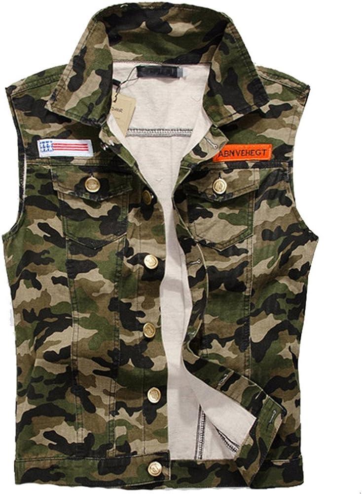 ZOOB MILEY Mens Camouflage Denim Vest Motorcycle Jeans Waistcoat Tops
