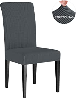 subrtex Dining Room Chair Slipcovers Sets Stretch Furniture Protector Covers for Armchair Removable Washable Elastic Parsons Seat Case for Restaurant Hotel Ceremony, 2 Pieces, Gray Checks