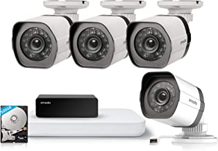 Zmodo 4CH HDMI NVR w/500GB Hard Disk 4Pack 720P Security Camera System w/Repeater for Flexible Installation & Extension, Customizable Motion Detection