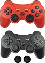 $24 » Wireless PS3 Controller 2 Pack, Bek PS3 Gamepad Remote with Non-Slip Joystick Thumb Grips, Rechargeable Battery Dualshock ...
