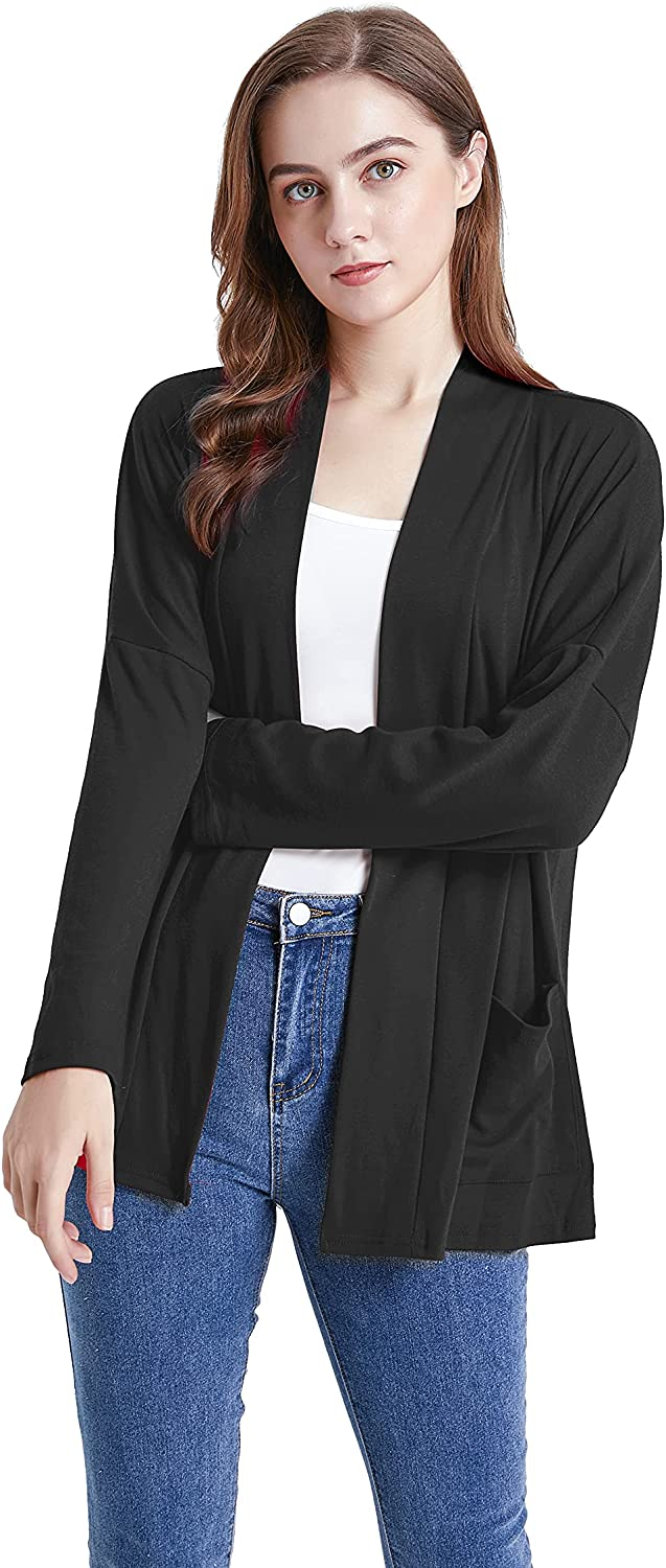 LKOQO Women's Long-Sleeved Cardigan Sweater Casual Lightweight Soft Knit Front Placket Front Drape Shrug with Pockets(S-XXL)