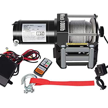 DCFlat 12V 3000LBS Wire Rope Electric Winch for Towing ATV/UTV/Boat Off Road with Mounting Bracket Wireless Remote Control