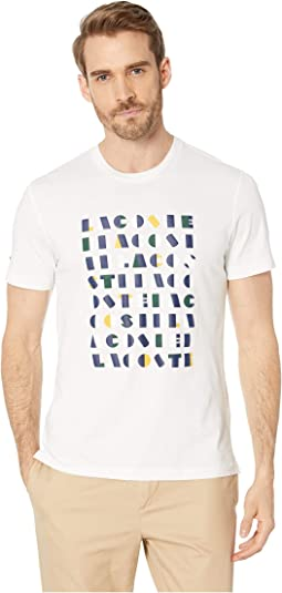 "Short Sleeve Regular Fit ""Lacoste Letter Block"" Graphic T-Shirt"