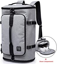 KAKA Travel Duffel Backpack, Gym Backpack Outdoor Travel Bag with Shoe Compartment, Weekender Overnight Convertible Bag Water-Resistant College Laptop Bookbag Hiking Camping Rucksack