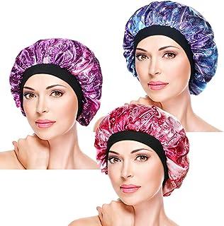 3 Pieces Soft Sleep Caps – Night Satin Bonnet with Wide Premium Elastic Band, Salon Bonnet Hair Loss Sleeping Cap for Women
