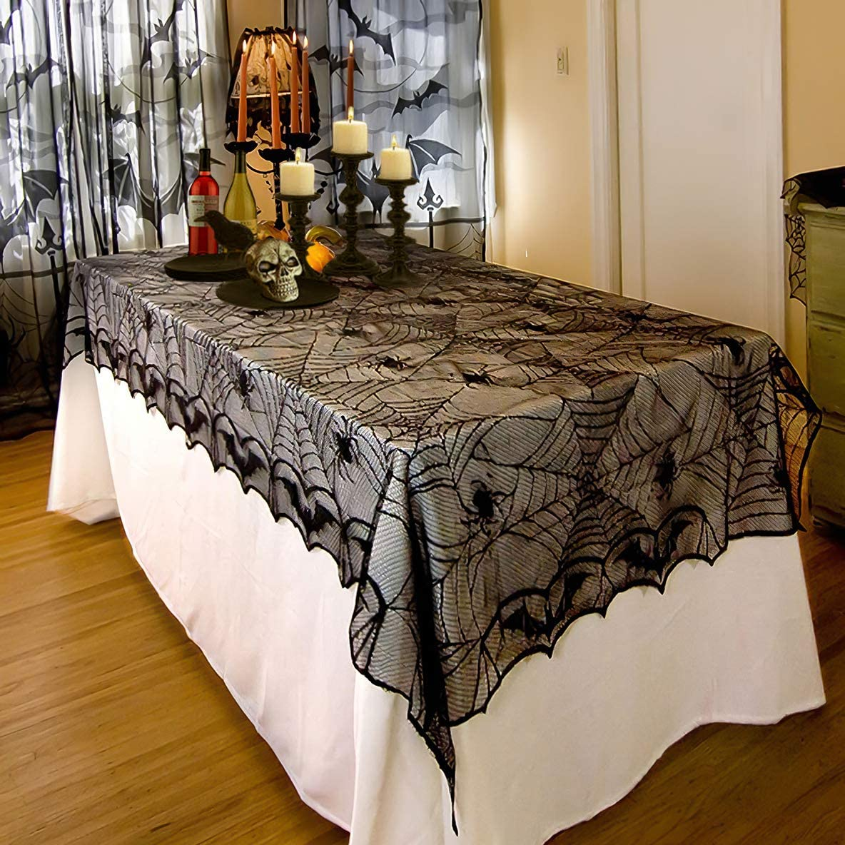 FUN LITTLE TOYS Rectangular Tablecloth Black Spider Web Tablecover, Halloween Decoration Party Supplies Scary Movie Nights 100 x 53 Inch