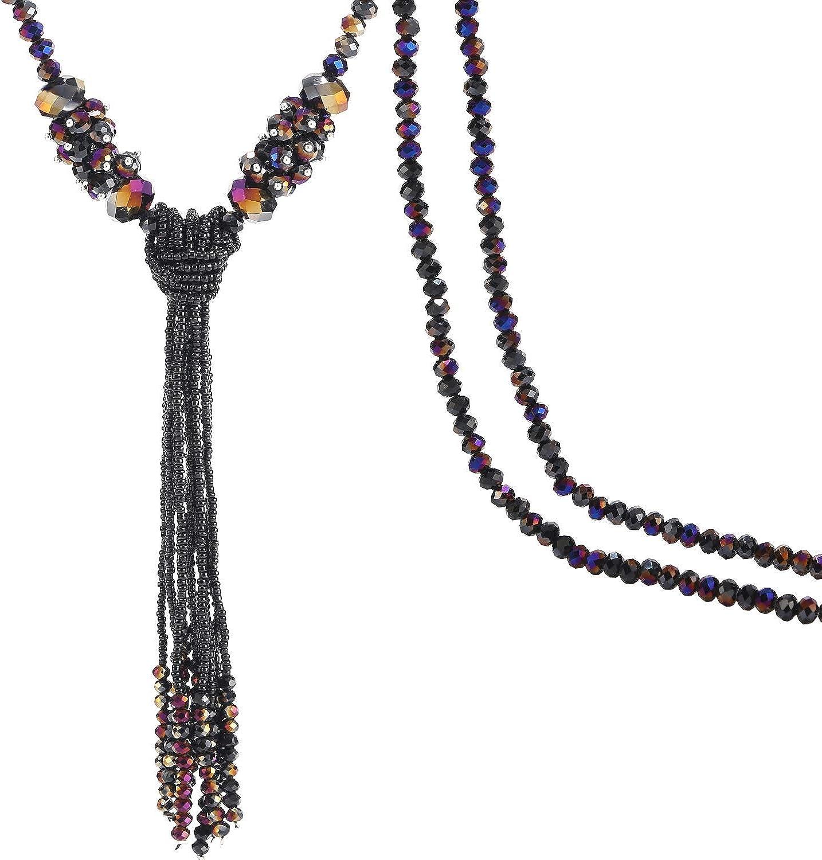 BaubleStar Multi-Color Crystal Beads Strand Knot Long Beaded Tassel Necklace for Women Girls