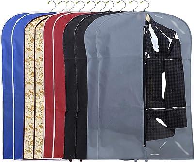 Kuber Industries 10 Pieces Half Transparent Non Woven Men's Coat Blazer Suit Cover (Grey & Black & Maroon & Brown & Royal Blue) -CTKTC41633