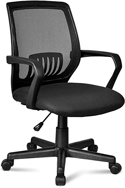 Giantex Office Chair Mid Back Mesh Chair With Armrest Ergonomic Desk Chair Lumbar Support Sponge Cushion Executive Adjustable Stool Rolling Swivel Chair For Back Pain 22 5 X 22 5 X 40