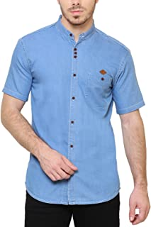 Kuons Avenue Men's Chinese Collar Half Sleeve Denim Shirt