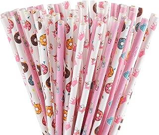 ALINK Biodegradable Pink Paper Straws, 100 Crown/Unicorn/Donut/Mermaid Straws for Baby/Bridal Shower, Wedding, Birthday, Summer Beach Pool Luau Party Supplies