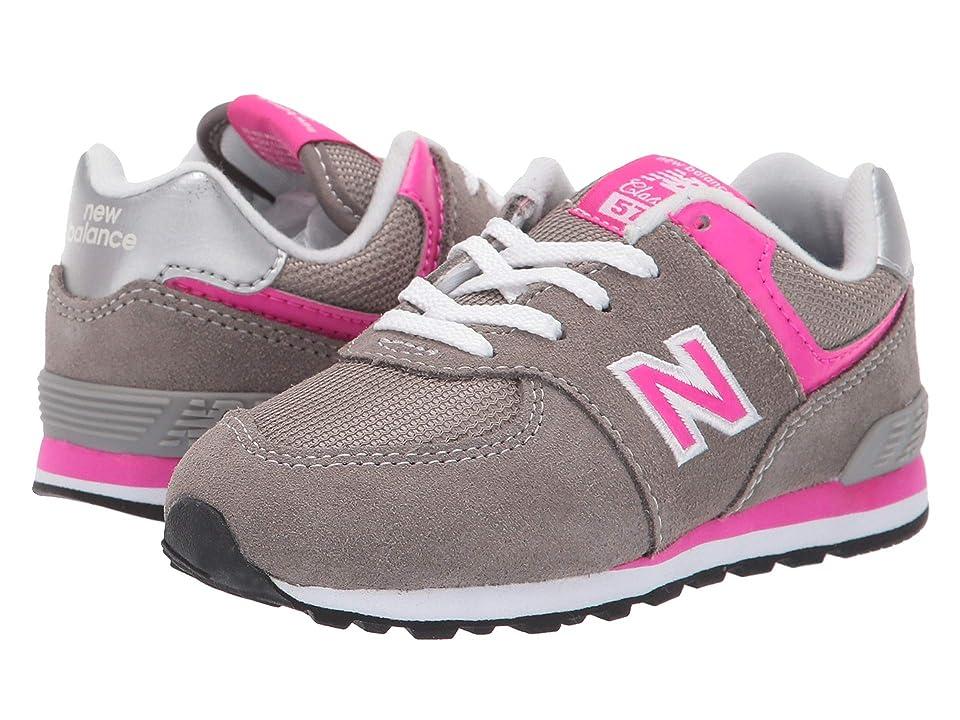 New Balance Kids KX574v1I (Infant/Toddler) (Grey/Pink) Girls Shoes